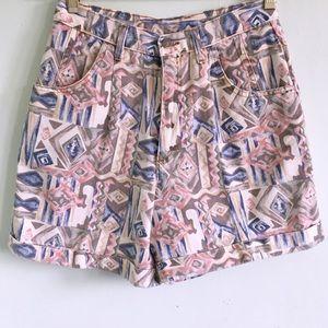 90s Vintage Aztec Print Shorts